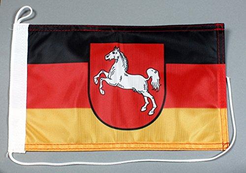 Buddel-Bini Bootsflagge Niedersachsen 20 x 30 cm in Profiqualität Flagge Motorradflagge