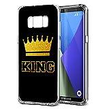 Samsung Galaxy S8 Plus Hülle, YOEDGE [Ultra Dünn] Schutzhülle Silikon Schwarz mit Muster Queen King Krone Motiv Design Personalisiert Weich TPU Handyhülle Bumper Case Backcover für Samsung Galaxy S8 Plus Smartphone (King, Schwarz-Gold)
