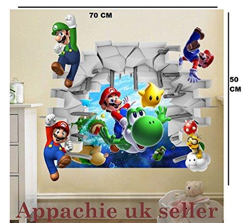 Adesivi Murali Super Mario.Super Mario Adesivi Da Parete Per La Camera Dei Bambini K146 50