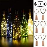 BizoeRade Flaschenlicht,6 Stück 39inch 20 LED Warmweiß Kupferdraht Lichter String Starry LED Lichter für Flasche DIY, Party, Dekor, Weihnachten, Halloween, Hochzeit oder Stimmung Lichter - 2