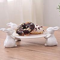 Coniglio Piatto da portata per torta, con alzata, Cucina artigianale, Alzata per torte Vintage regalo per gli amanti di utensili da cucina, matrimoni, festa della mamma (3 Coniglio)