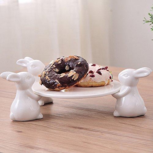 (Häschen Patisserie Tortenplatte Porzellan,Geschirr für Tortenplatte Vintage, Süßer Kuchenständer, Geschirr Handwerk Geschirr Crafts Geschenk für Geschirr Liebhaber, Hochzeit, Muttertag (3 Häschen))