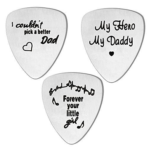 lauhonmin Gitarrenplektren Set für Papa von Daughter Son, Edelstahl, 3 Stück