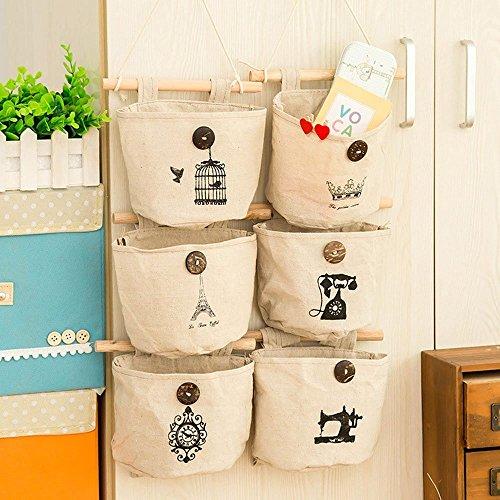 Lin Tissu de coton Mur Porte de placard à suspendre Sac de rangement Case 6 étagères Home Organiseur nostalgique Style – Organiser facilement et de conserver votre Forme pulls