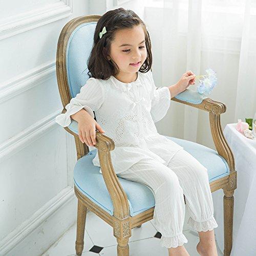 JINSHENG Sommer - Kinder ist Reiner Baumwolle dünnen Pyjama die süße Prinzessin Spitzen Spitze Gericht Wind Baby zuhause Anzug,weiße 120cm
