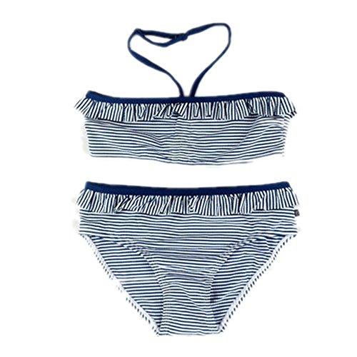 CGHM 6-15 Jahre Kinder Mädchen Bademode Mädchen im Teenageralter Zwei Stücke Badeanzug blau gestreiften Badeanzug Mädchen Bikini Kinder Bademoden, blau, 152 164