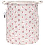 Sea Team 50 cm, portabiancheria di grandi dimensioni, rivestimento impermeabile, in tessuto di cotone ramia, pieghevole, secchio cilindrico di tela, cesta portaoggetti, con elegante motivo a stelle Pink Star