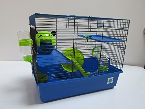 Dexter azul grande & Lime Small Animal Cage Jaula de Hámster 2plantas 37x 46x 29cm