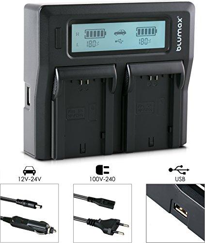 Blumax Doppelladegerät ersetzt Sony NP-FZ100 Dual Charger Schnell-Ladegerät mit LCD Anzeige kompatibel mit Sony 7III 7R3 7RM3 7M3 7RMiii 7riii Alpha 9 - BC-QZ1 (Dual Akku-ladegerät Sony)