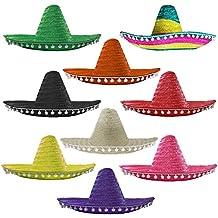 Mexican Sombrero con pompones de color blanco disfraz de sombrero de paja por Ilovefancydress ideal para despedidas de soltera/noche de ciervo, verano, playa fiesta, al por mayor a granel disponible en múltiplos de su elección: Pack de 1–Pack de 6–Pack de 12–Pack de 24–Paquete de 48, Morado, pack de 1
