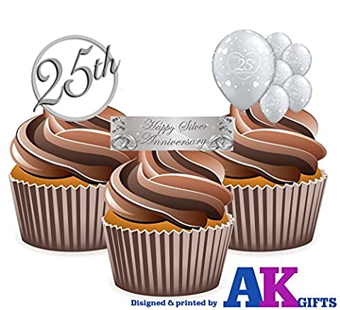 Silver / 25th Wedding Anniversary Cake Decorations - Edible Stand-up