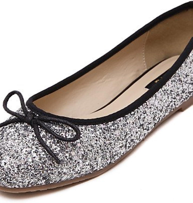 PDX/Damen Schuhe Glitter flach Ferse Komfort/Ballerina/Runde Zehen Wohnungen Kleid/Casual lila/silber