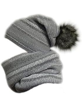 Damen Strickmütze, Loop & Handschuh mit Kunstfell Bommel 164