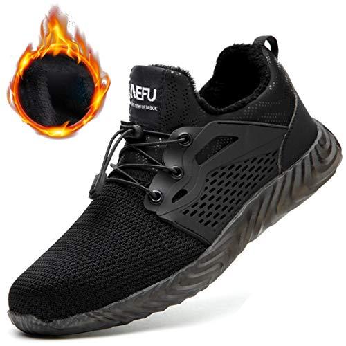 Dxyap Inverno più Velluto Scarpe Antinfortunistiche da Uomo S1P Punta in Acciaio Sneakers da Lavoro Leggere ed Eleganti,Nero,39EU