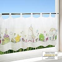 Scheibengardine EINHORN / Frühling Sommer Gardine Mit Einem Tiermotiv /  45x120 Cm / Moderne Blickdichte