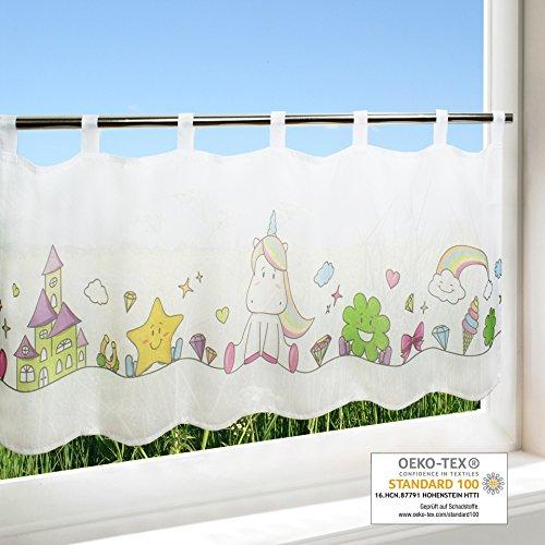 Scheibengardine EINHORN, Frühling Sommer Gardine mit einem Tiermotiv, 45x120 cm, moderne blickdichte Bistrogardine für das Kinderzimmer