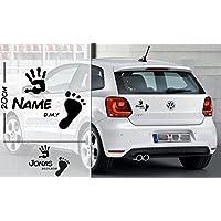 Fuß und Hand abdruck Baby | Baby - Name On Board | Wunschtext | Auto Aufkleber | Lustig | Baby On Board