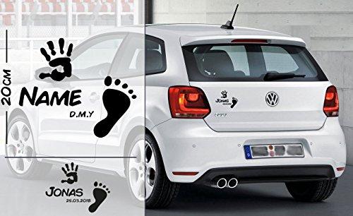 Fuß und Hand abdruck Baby   Baby - Name On Board   Wunschtext   Auto Aufkleber   Lustig   Baby On Board