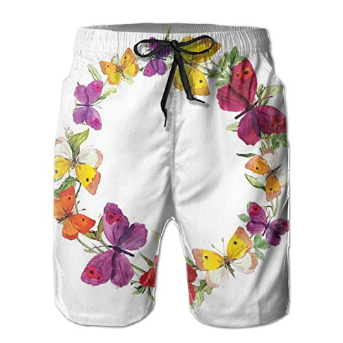 jiger Mens Summer Cool Quick Dry Board Shorts Bathing Suit, Butterfly Corolla with Herbs Nature Protection from Fear Spirit Morph Path Image Multi,Beach Shorts Swim Trunks XL