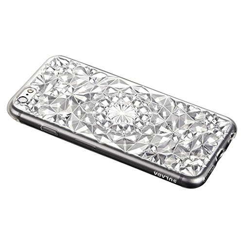 Forepin® Bling Diamant Muster Hülle Case Weicher TPU Bumper Cover Schutzhülle für iphone 6/iPhone 6s 4.7 Zoll Weiß