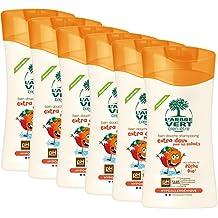 L'arbre vert Bien-être Bain Douche Shampooing Extra Doux pour les Enfants aux Extrait de Pêche Bio - Pack de 6