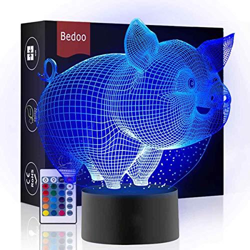 Hexie, LED-Nachtlicht in 16 wechselnden Farben, mit Smart-Touch-Taste, 3D-Illusion, Nachttischlampe, Beleuchtung, Schlaflicht, pfiffiges Geschenk, kreative Dekoration, Kunsthandwerk (Schwein)