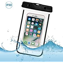 Funda Impermeable Móvil IPX8 Tpu, Bolsa Impermeable Móvil Sumergible de 4-6 Pulgada iPhone 7/6s, 7/6s plus,5, SE,Huawei P9 Móvil,Transparente (Negro)