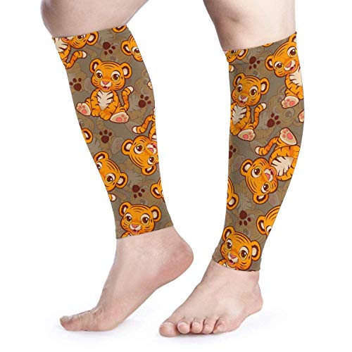 Yellow Cute Animal Tiger Pattern Cartoon Cool Running Home Workout Sport Gym Gear Accessories Calf Compression Sleeve Leg Jobs Running Half Foot Guard Protective Supports Guards