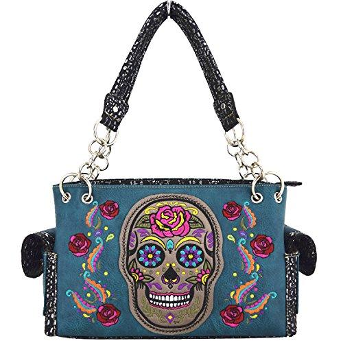 Blancho Biancheria da letto delle donne [Colorful Bone] PU Leather Bag Set Elegante Portafoglio Hanbag Comobo Fashion Bag Turchese Handbag-Turchese