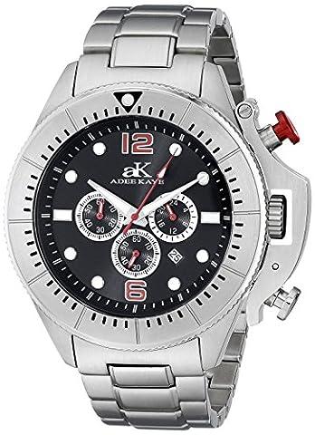 Adee Kaye Men's AK9041-MBK Guardian Analog Display Japanese Quartz Silver Watch