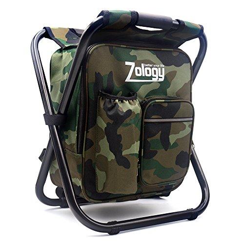 Zology pieghevole sedia da campeggio sgabello zaino con borsa picnic isolato di raffreddamento, camouflage portatile escursionismo seggiolone da tavolo per outdoor pesca al coperto viaggio beach bbq