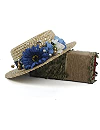 FeiNianJSh Sombrero de Playa de Moda Edwardian Young Ladies Sombrero de Paja  Azul con Flores Perlas Sombrero de Mujer de Verano Sun Lady… 9ae6086dcbc