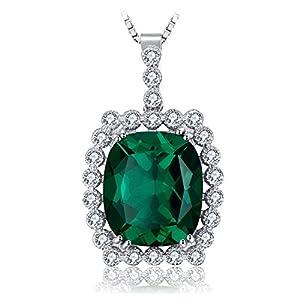 JewelryPalace Donna Gioiello 10ct Lusso Artificiale Nano Russo Smeraldo Ciondolo Collana con Pendente Argento Sterling 925 Catena 45cm