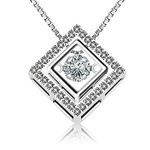 """J.Rosée Collana """"Quadrato Amore"""" Argento sterling 925 Zircon con un grande diamante Buon regalo per amore"""