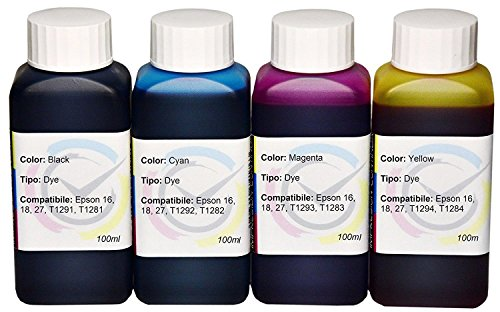 Kit 4tintas) Dye compatible con cartuchos 16/16x l para impresora EPSON WorkForce WF 2010W/WF 2510WF/WF 2520NF y WF 2530WF/WF 2540WF/WF 2630/WF WF 2650DWF/WF 2660DWF