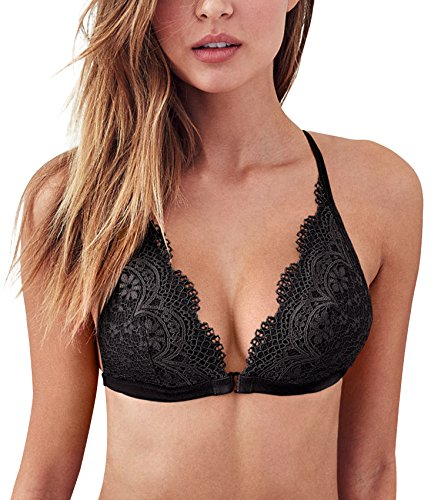Camellias Dessous Spitzen Bustier Bralette BH Gepolstert Triangle Front-close Racerback Bra Lingerie Top mit Abnehmbare Padding und Verstellbarer Strap, UK-TXZ5512-Black-L (Floral Mesh-bustier)