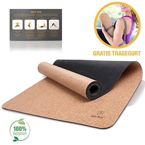 High Pulse Yogamatte aus Kork und Kautschuk + Tragegurt | 100% natürlich, nachhaltig und biologisch abbaubar - Rutschfeste Trainingsmatte für Anfänger und erfahrene Yogis für Yoga, Pilates und Fitness