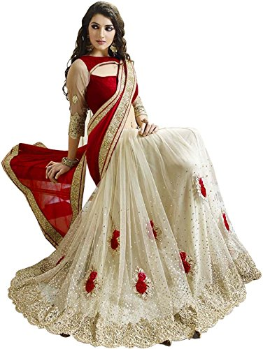 Online Bazaar Net Saree With Blouse Piece (2140-Red-1_Red_Free Size)