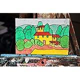 Landschaft Toscano - Hand auf Leinwand Bord gemalt, Maße 15x0,2x10cm.Made in Italien, Toskana lucca.