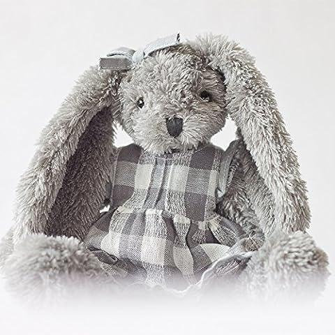 YunNasi toys-Peluche a forma di coniglio, colore: grigio, motivo gonna con fiocco Stuffed Animal Pet