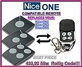 NICE Universal Garagentor Fernbedienung Sender Geeignet für Nice ON1 | Nice ON2 | Nice ON4, 4 Kanal Kompatibel Handsender, Rolling Code | 433.92 Mhz