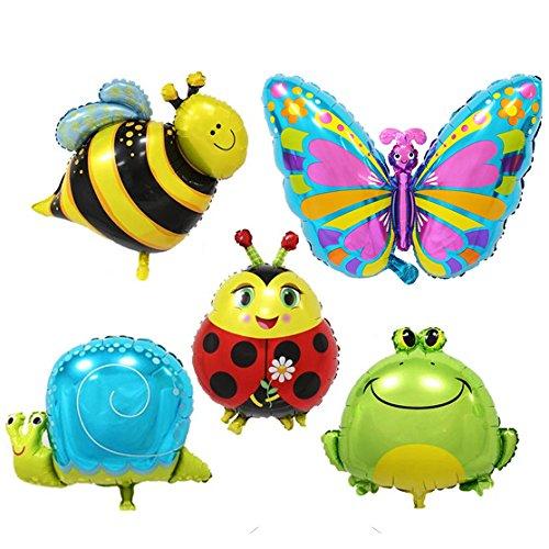 our fantasy time super Süß Insekt Tierchen, Schmettering, Marienkäfer, Schnecke, Biene, Frosch Folienballon, Helium Ballons, Aluminiumfolie Ballons für Kinder Geburtstagsparty, Festival