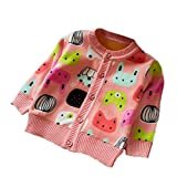 ZHUANNIAN Baby Mädchen Fleecejacke Langarm Mantel Säuglinge Outwear mit Karikatur Musterentwurf (92, Rosa)