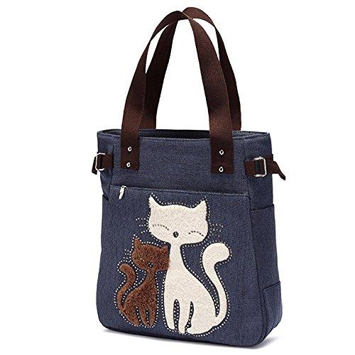 Bolsos Cat Spring Azul. Bolso tote con bordado de gato