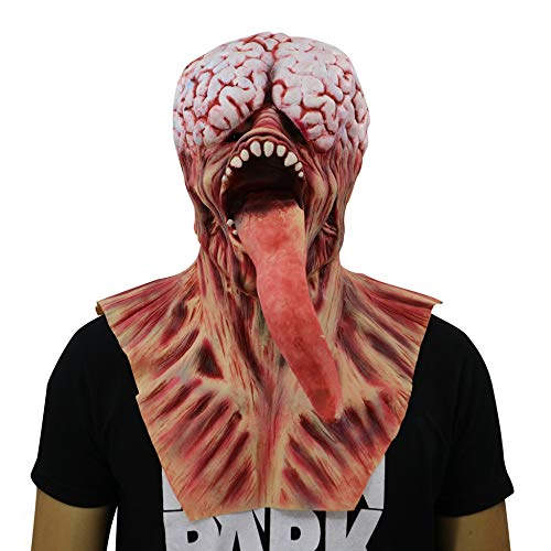 JUFENG Halloween Horror Zombie Maske Haunted House Secret Room Unheimlich Blutig Heikles Latex Augenmaske Cosplay Rotten Long Tongue