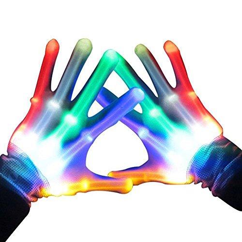 (AimdonR LED-Handschuhe, Glow Handschuhe im Dunkeln, LED Skeleton Handschuhe, bunte blinkende Finger, Beleuchtung Handschuhe.)