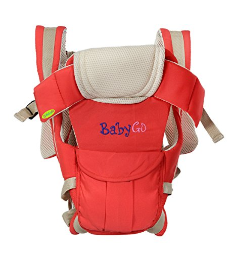 BabyGo Soft Breathable Adjustable Hands-Free 4-in-1 Baby Carrier with Comfortable Head Support & Buckle Straps (Red)
