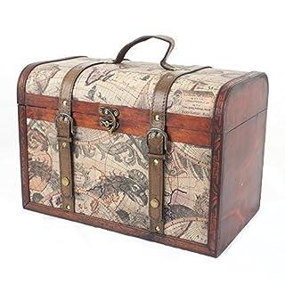 Boîte en tricot de rangement en bois de style vintage de luxe avec design Globe - Idée cadeau pour anniversaire et plus