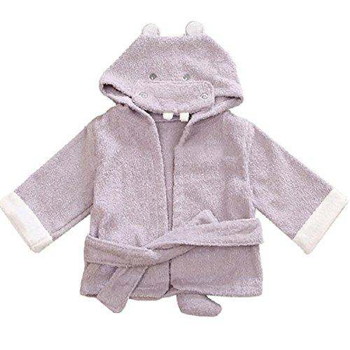 (Woneart Baby Jungen Mädchen Bademantel mit Kapuze Morgenmantel Baumwolle Kapuzenhandtuch Strandtuch Badetücher Tiere Robe Mantel (M for 75-100cm, Hippo))
