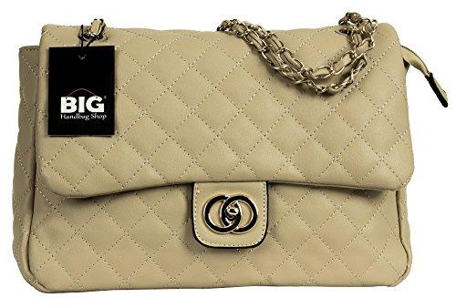 Big Handbag Shop Donna Twist Lock-Borsa a tracolla trapuntata Beige - Round Clasp